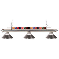 Shark 3 Light 58 inch Brushed Nickel Island Light Ceiling Light in Clear Ribbed and Brushed Nickel
