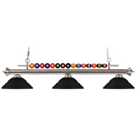 Shark 3 Light 60 inch Brushed Nickel Island Light Ceiling Light in Stepped Matte Black