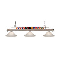 Shark 3 Light 60 inch Brushed Nickel Island Light Ceiling Light in White Swirl
