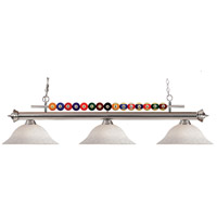 Shark 3 Light 60 inch Brushed Nickel Island Light Ceiling Light in White Mottle