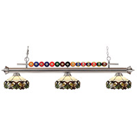 Shark 3 Light 58 inch Brushed Nickel Island Light Ceiling Light in Multi Colored Tiffany Glass (33)