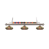 Shark 3 Light 58 inch Brushed Nickel Island Light Ceiling Light in Multi Colored Tiffany Glass (34)