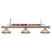 Shark 3 Light 58 inch Brushed Nickel Island Light Ceiling Light in Multi Colored Tiffany Glass (35)