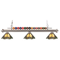 Shark 3 Light 58 inch Brushed Nickel Island Light Ceiling Light in Multi Colored Tiffany Glass (37)