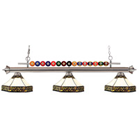 Shark 3 Light 60 inch Brushed Nickel Island Light Ceiling Light in Multi Colored Tiffany Glass (30)