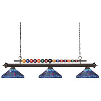 Z-Lite 170BRZ-D16-1 Shark 3 Light 60 inch Bronze Island/Billiard Ceiling Light in Multi Colored Tiffany Glass 29