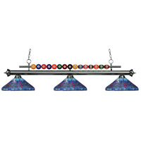 Shark 3 Light 60 inch Gun Metal Island Light Ceiling Light in Multi Colored Tiffany Glass (D16)
