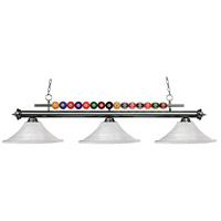 Shark 3 Light 60 inch Gun Metal Island Light Ceiling Light in White Mottle Flared