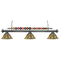 Shark 3 Light 58 inch Gun Metal Island Light Ceiling Light in Multi Colored Tiffany Glass (R14A)