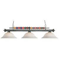 Shark 3 Light 60 inch Gun Metal Island Light Ceiling Light in White Mottle