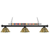 Z-Lite 170MB-R14A Shark 3 Light 58 inch Matte Black Island/Billiard Ceiling Light in Multi Colored Tiffany Glass (R14A)