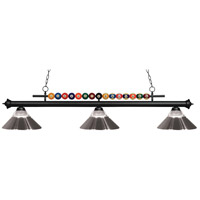 Z-Lite 170MB-RBN Shark 3 Light 58 inch Matte Black Island Light Ceiling Light in Clear Ribbed and Brushed Nickel