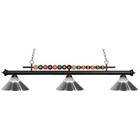 Z-Lite 170MB-RCH Shark 3 Light 58 inch Matte Black Island Light Ceiling Light in Clear Ribbed and Chrome