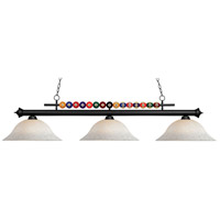 Shark 3 Light 60 inch Matte Black Island Light Ceiling Light in White Mottle