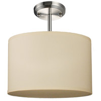 Albion 1 Light 12 inch Brushed Nickel Semi Flush Ceiling Light in Off White Linen Fabric