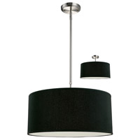 Albion 3 Light 20 inch Brushed Nickel Pendant Ceiling Light in Brushed Nickel and Black, Black