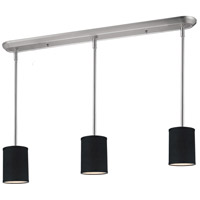 Albion 3 Light 48 inch Brushed Nickel Island Light Ceiling Light in Black Fabric
