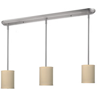 Albion 3 Light 48 inch Brushed Nickel Island Light Ceiling Light in Off White Linen Fabric