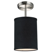Albion 1 Light 6 inch Brushed Nickel Semi Flush Ceiling Light in Black Fabric