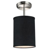 Z-Lite 171-6B-SF Albion 1 Light 6 inch Brushed Nickel Semi Flush Mount Ceiling Light in Black Fabric