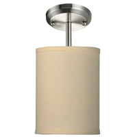 Albion 1 Light 6 inch Brushed Nickel Semi Flush Ceiling Light in Off White Linen Fabric