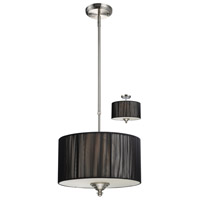 Z-Lite Manhattan 3 Light Pendant in Brushed Nickel/Black 173-15BK-C