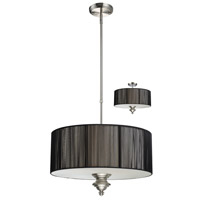Z-Lite Manhattan 3 Light Pendant in Brushed Nickel/Black 173-20BK-C photo thumbnail