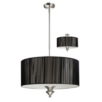 Z-Lite Manhattan 3 Light Pendant in Brushed Nickel/Black 173-24BK-C