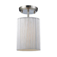 Z-Lite Manhattan 1 Light Semi-Flush Mount in Brushed Nickel/White 173-6W-SF photo thumbnail