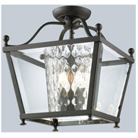 Ashbury 3 Light 12 inch Bronze Semi Flush Mount Ceiling Light in 12.25