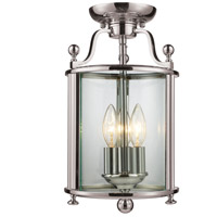 Z-Lite Wyndham 3 Light Semi-Flush Mount in Brushed Nickel 191SF