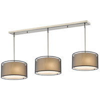 Z-Lite 192-15-3BK Sedona 9 Light 57 inch Brushed Nickel Island/Billiard Ceiling Light in Black and Super White Organza, 15
