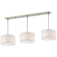 Z-Lite 192-15-3W Sedona 9 Light 57 inch Brushed Nickel Island/Billiard Ceiling Light in White and Super White Organza, 15