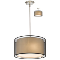 Z-Lite 192-15BK-C Sedona 3 Light 15 inch Brushed Nickel Pendant Ceiling Light in Black and Super White Organza