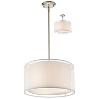 Z-Lite 192-15W-C Sedona 3 Light 15 inch Brushed Nickel Pendant Ceiling Light in White and Super White Organza