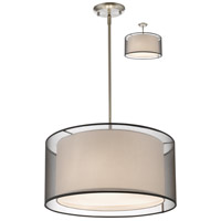 Z-Lite 192-18BK-C Sedona 3 Light 18 inch Brushed Nickel Pendant Ceiling Light in Black and Super White Organza