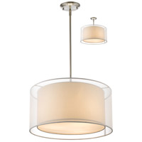 Sedona 3 Light 18 inch Brushed Nickel Pendant Ceiling Light in White and Super White Organza