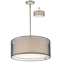 Z-Lite 192-24BK-C Sedona 3 Light 24 inch Brushed Nickel Pendant Ceiling Light in Black and Super White Organza