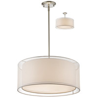 Z-Lite 192-24W-C Sedona 3 Light 24 inch Brushed Nickel Pendant Ceiling Light in White and Super White Organza