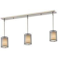 Z-Lite 192-6-3BK Sedona 3 Light 48 inch Brushed Nickel Island Light Ceiling Light in 6, Black and Super White Organza