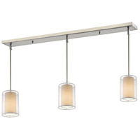 Z-Lite 192-6-3W Sedona 3 Light 48 inch Brushed Nickel Island/Billiard Ceiling Light in White and Super White Organza, 6