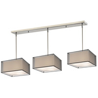 Sedona 9 Light 57 inch Brushed Nickel Island Light Ceiling Light in Black and Super White Organza