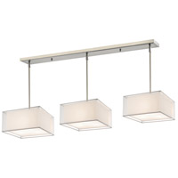 Sedona 9 Light 57 inch Brushed Nickel Island Light Ceiling Light in White and Super White Organza
