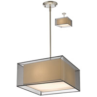 Z-Lite 193-18BK-C Sedona 3 Light 18 inch Brushed Nickel Pendant Ceiling Light in Black and Super White Organza