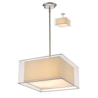 Z-Lite 193-18W-C Sedona 3 Light 18 inch Brushed Nickel Pendant Ceiling Light in White and Super White Organza