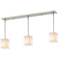 Sedona 3 Light 48 inch Brushed Nickel Island Light Ceiling Light in White and Super White Organza