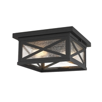 Z-Lite 583F-BK Brookside 2 Light 12 inch Black Outdoor Flush Ceiling Mount Fixture