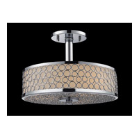 Z-Lite Synergy 3 Light Semi-Flush Mount in Chrome/Matte Opal 199SF