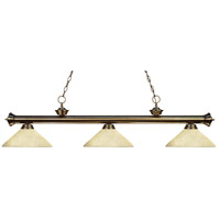 Riviera 3 Light 57 inch Antique Brass Island Light Ceiling Light in Golden Mottle Angular