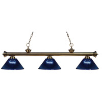 Riviera 3 Light 57 inch Antique Brass Island Light Ceiling Light in Acrylic Dark Blue